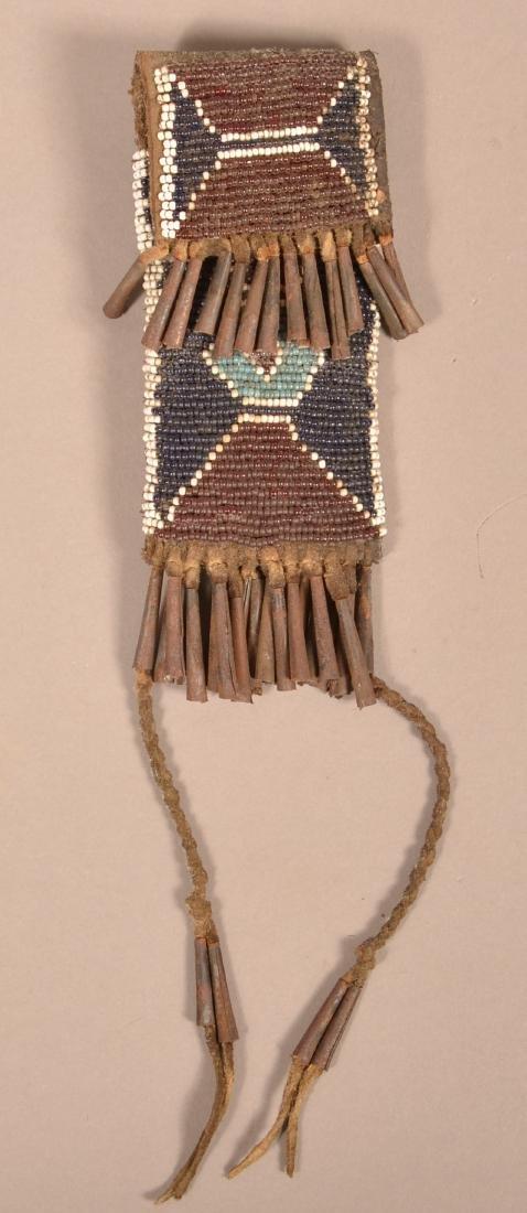Antique Kiowa Whetstone Case, Beaded w/ Tin Cone Fringe