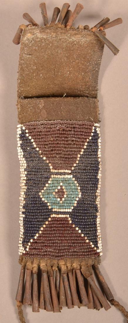 Antique Kiowa Whetstone Case, Beaded w/ Tin Cone Fringe - 2