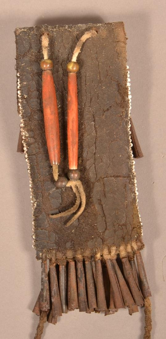 Antique Kiowa Whetstone Case, Beaded w/ Tin Cone Fringe - 3
