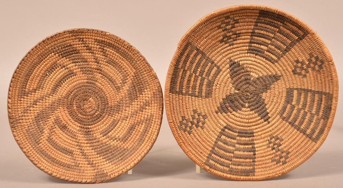 """2 Antique S.W Indian Coiled Baskets 9"""" Dia. Apache w/"""