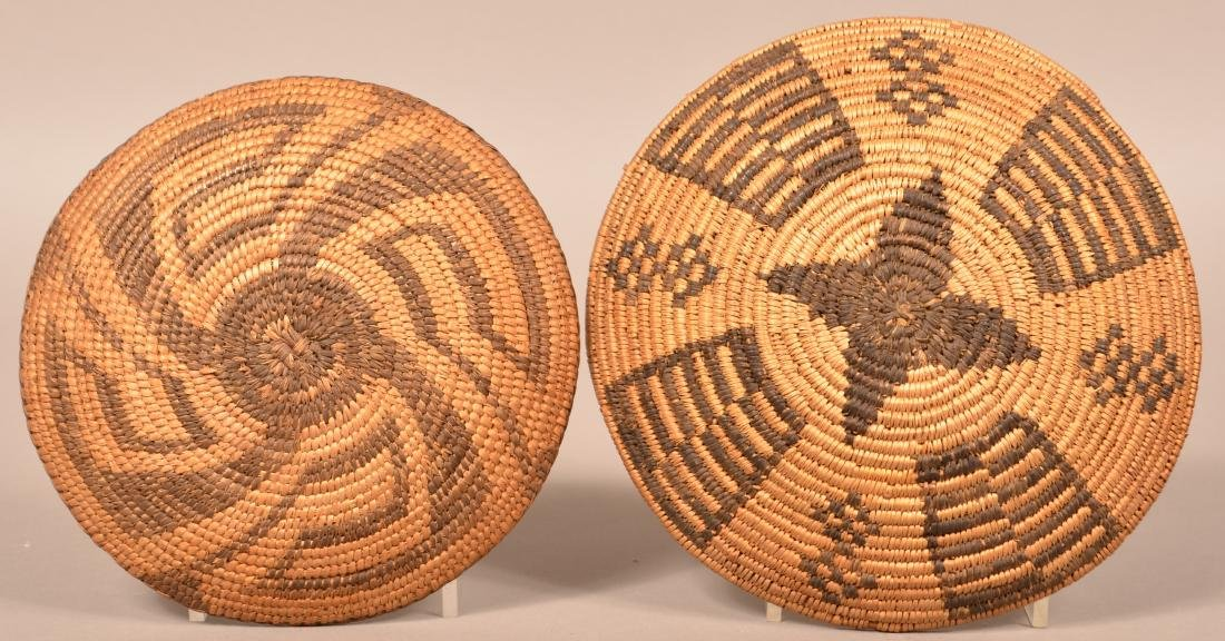 """2 Antique S.W Indian Coiled Baskets 9"""" Dia. Apache w/ - 2"""