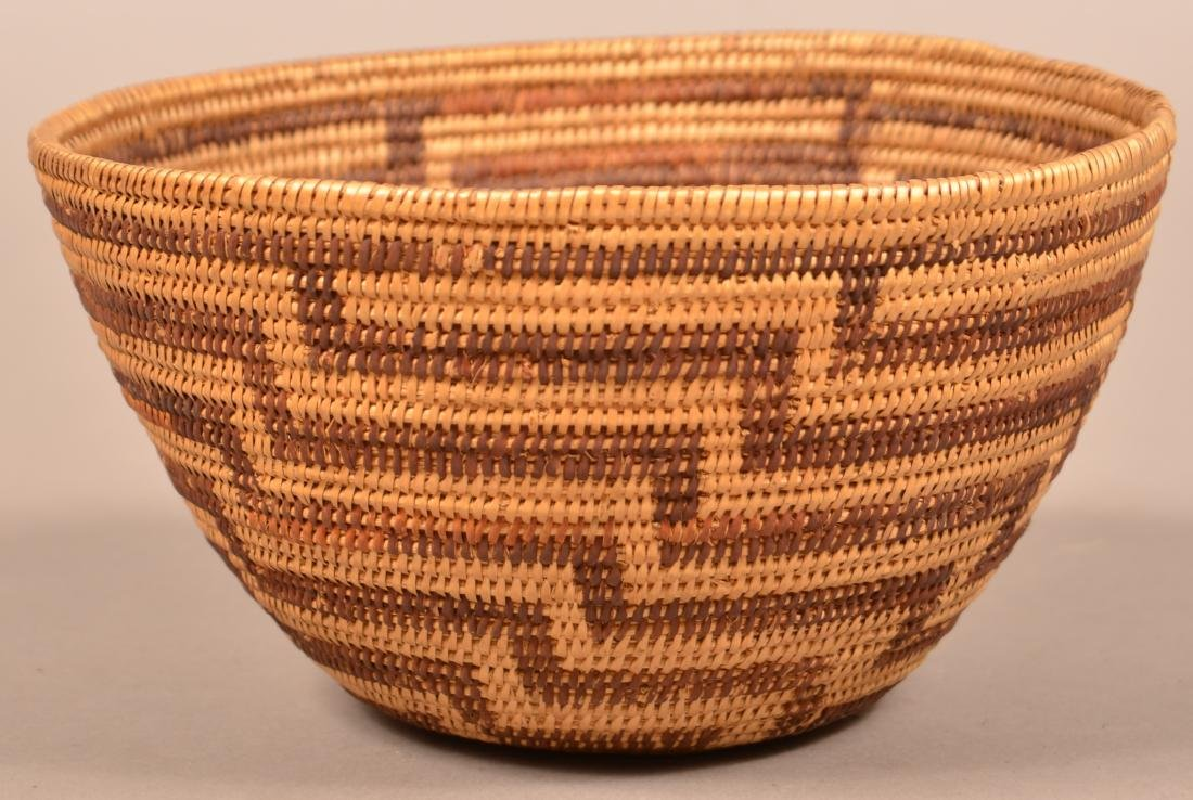 California Indian Basket w/ Staggered Fretwork Design
