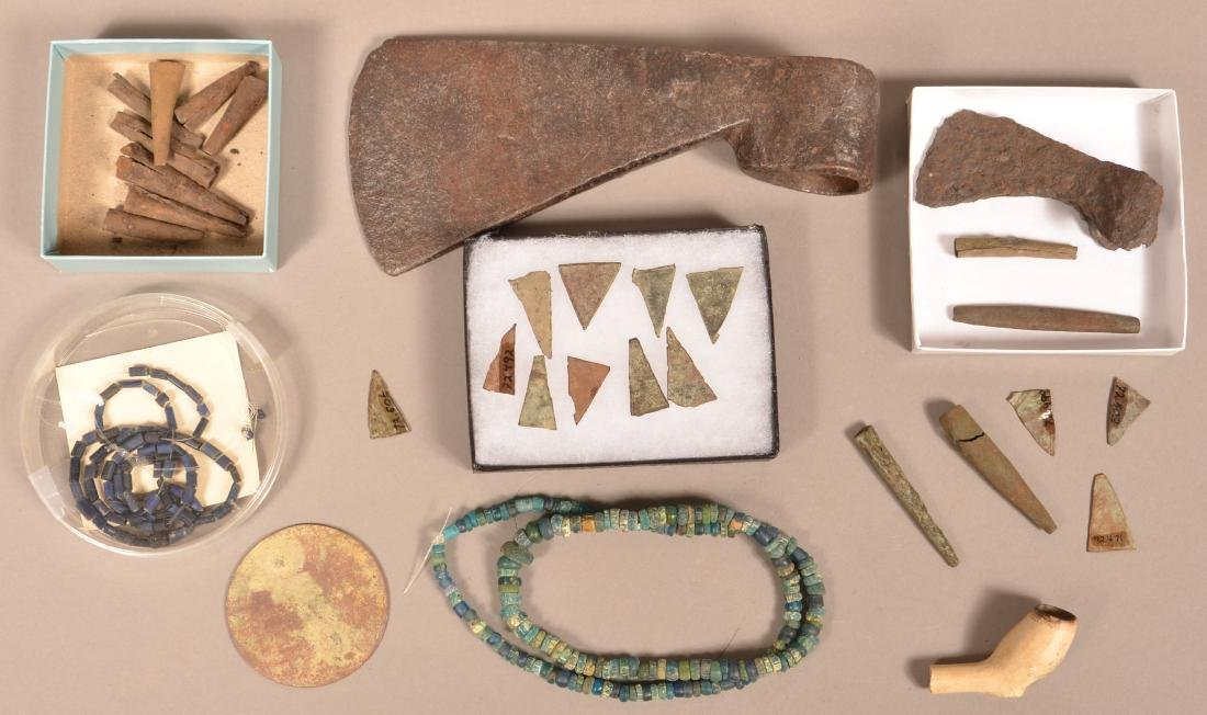 """Boxed Collection of """"Trade Goods"""" Excavated Beads and"""