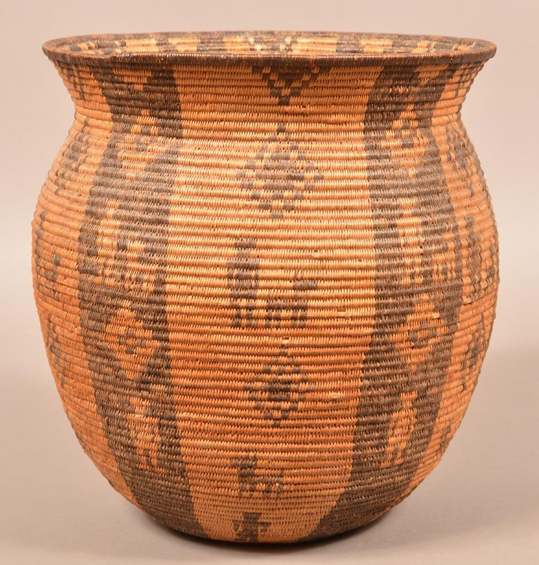 Antique Apache Indian Coiled Storage Basket w/ Design