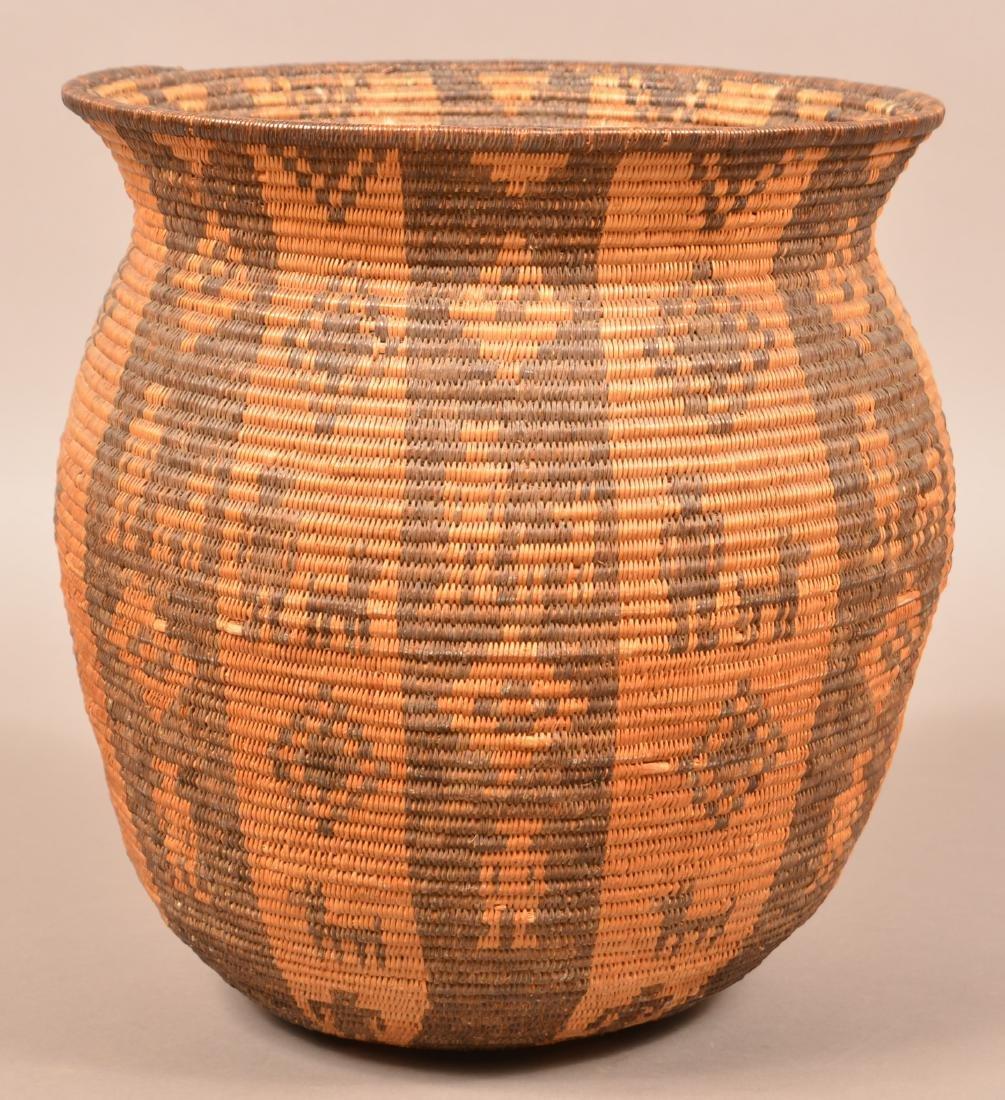 Antique Apache Indian Coiled Storage Basket w/ Design - 2