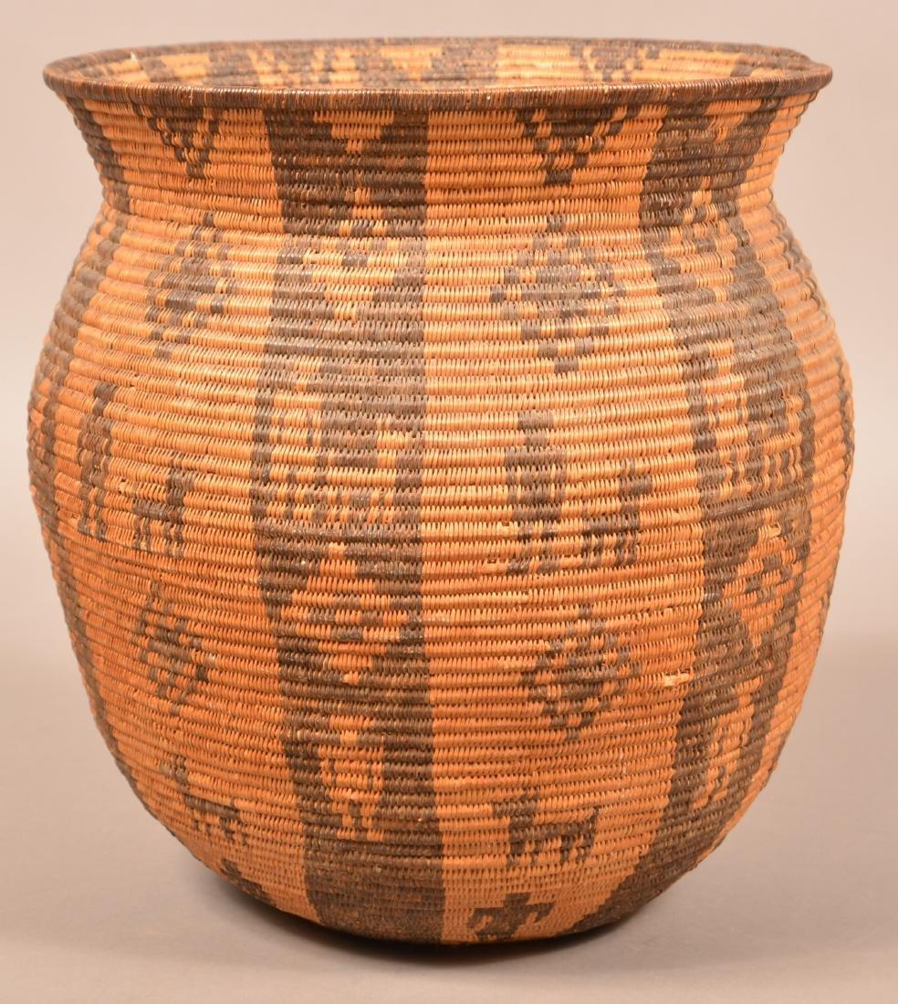 Antique Apache Indian Coiled Storage Basket w/ Design - 3