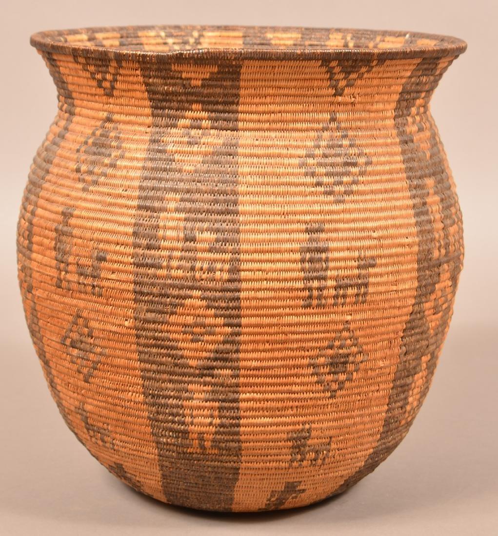 Antique Apache Indian Coiled Storage Basket w/ Design - 4