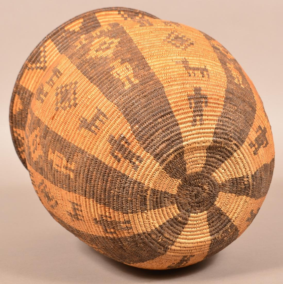 Antique Apache Indian Coiled Storage Basket w/ Design - 5