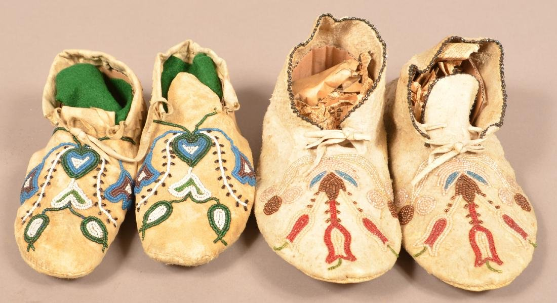 """2 Pairs of Indian Moccasins - A Rawhide Soled """"Santee"""""""