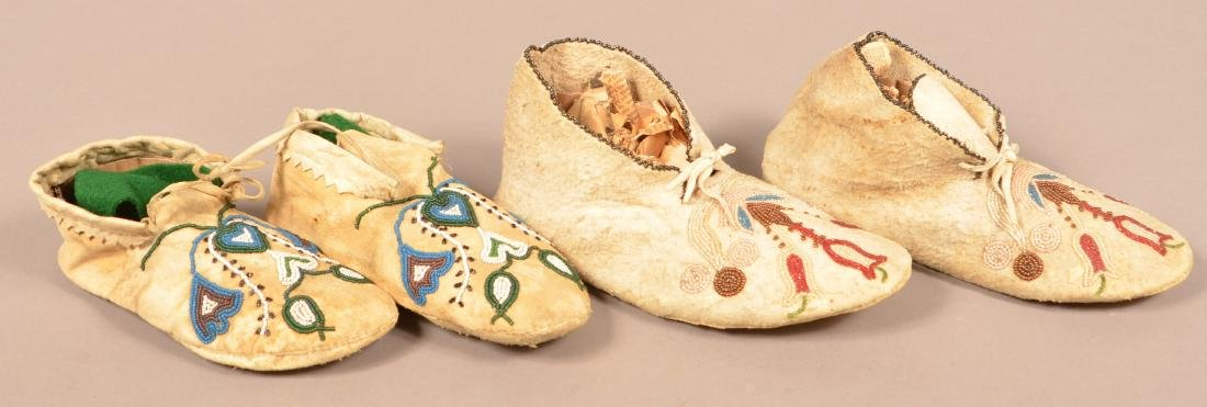 """2 Pairs of Indian Moccasins - A Rawhide Soled """"Santee"""" - 2"""