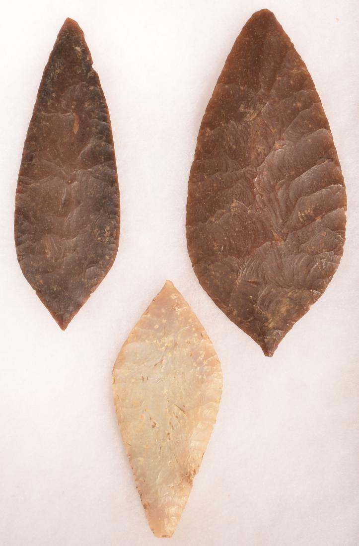 """3 Ancient Mexican Flint Blades 6 1/4"""", 5 1/2"""", 4 1/2"""""""
