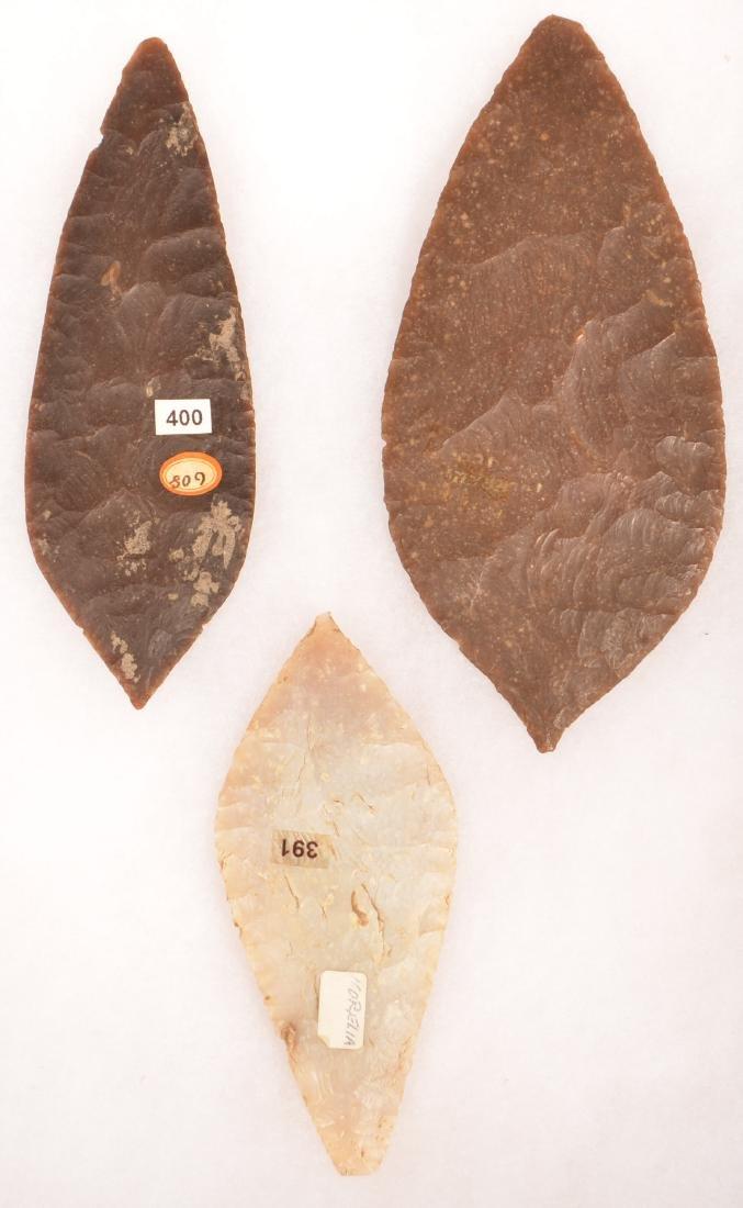 """3 Ancient Mexican Flint Blades 6 1/4"""", 5 1/2"""", 4 1/2"""" - 2"""