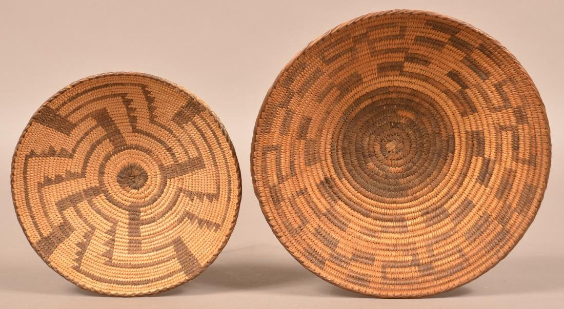 2 Vintage S.W Indian Coiled Baskets Woven from Willow