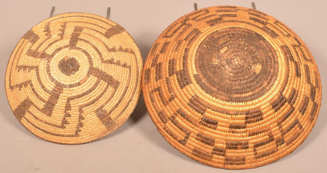 2 Vintage S.W Indian Coiled Baskets Woven from Willow - 2