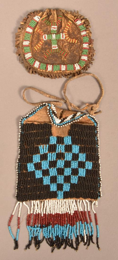 2 Antique, Small Sized Beaded Bags - Apache and Sioux