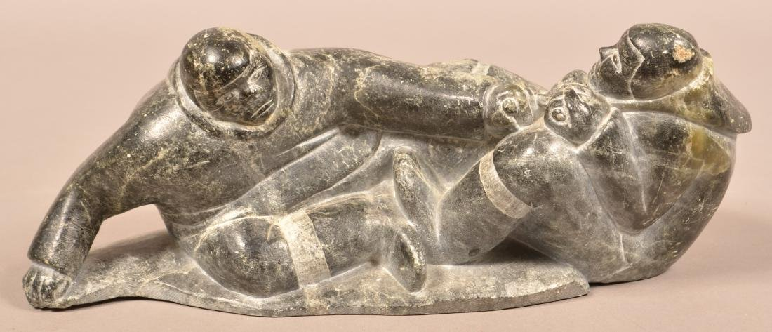 "Vintage Inuit Soapstone Carving of Wrestlers 13"" Long"