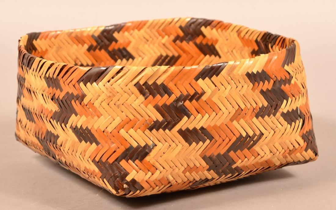 "Vintage Choctan Basket ""Double Woven"" Native Dyed River"