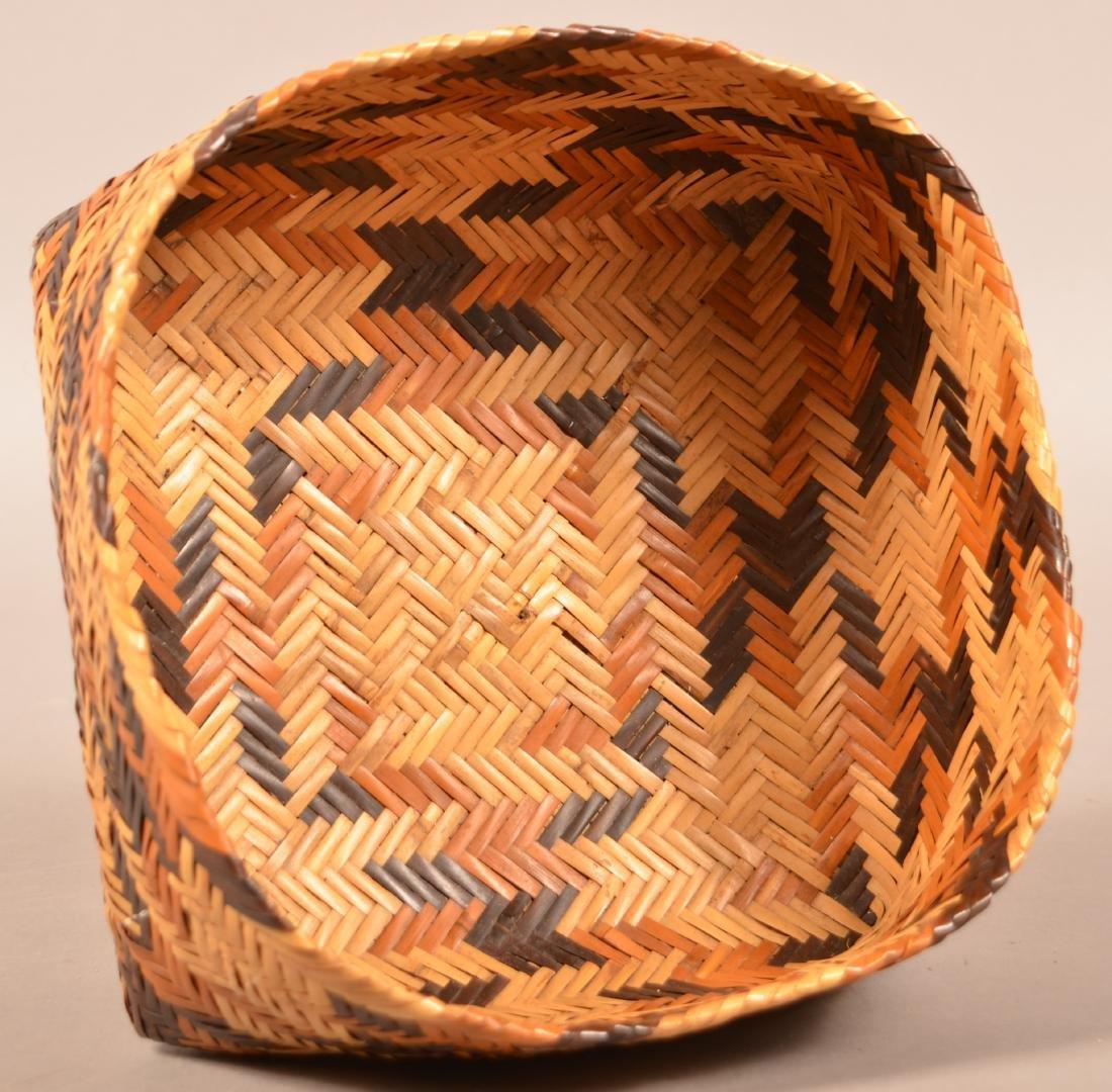 "Vintage Choctan Basket ""Double Woven"" Native Dyed River - 2"