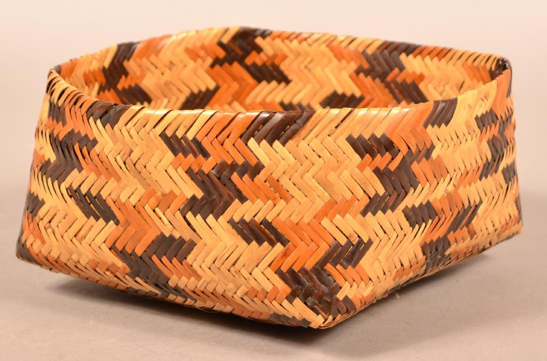 "Vintage Choctan Basket ""Double Woven"" Native Dyed River - 3"