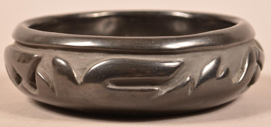 Santa Clara Pueblo Carved Blackware Pottery Vessel w/