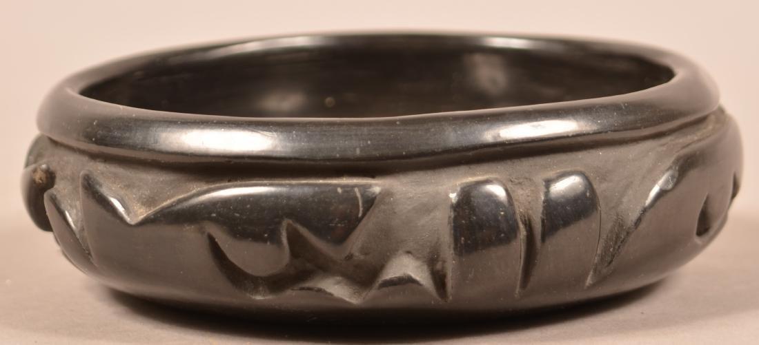 Santa Clara Pueblo Carved Blackware Pottery Vessel w/ - 2