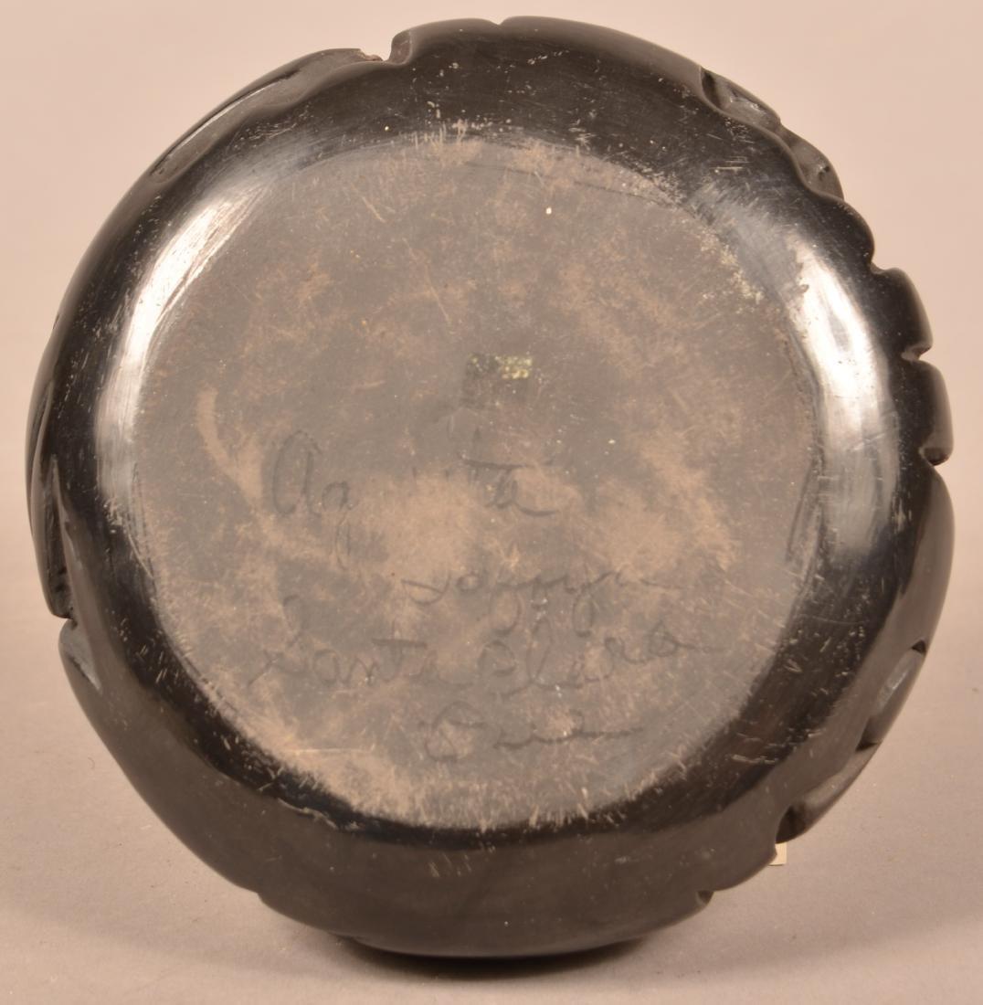 Santa Clara Pueblo Carved Blackware Pottery Vessel w/ - 3