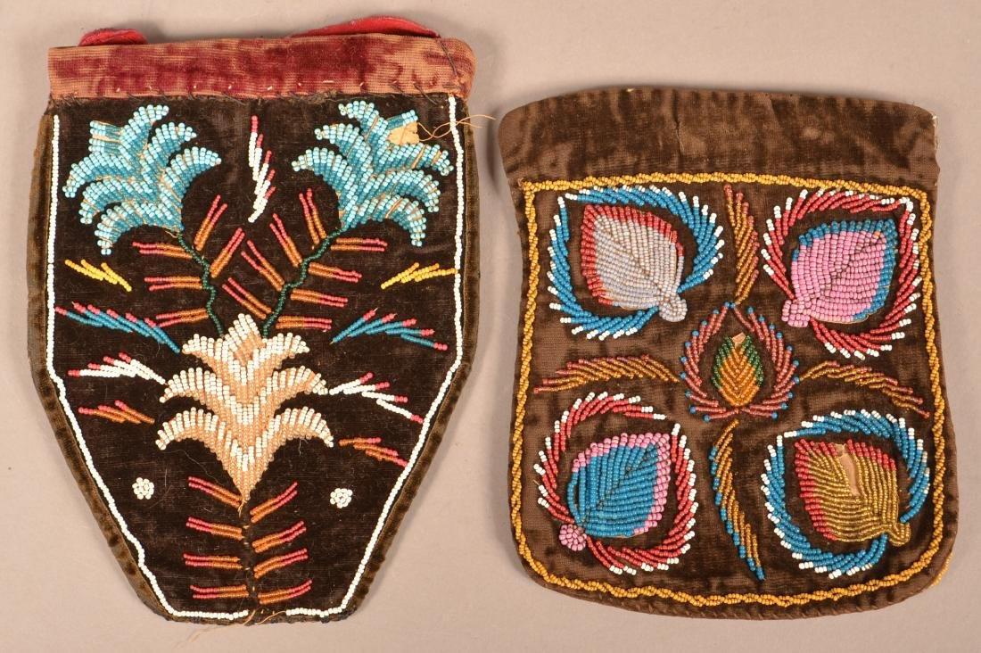 2 Mid 19th Cent. Iroquois Bags, Beaded on Velvet in