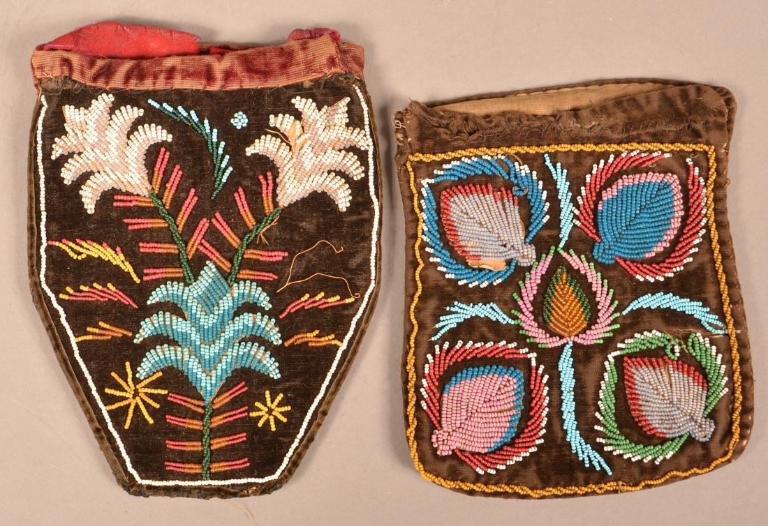 2 Mid 19th Cent. Iroquois Bags, Beaded on Velvet in - 2