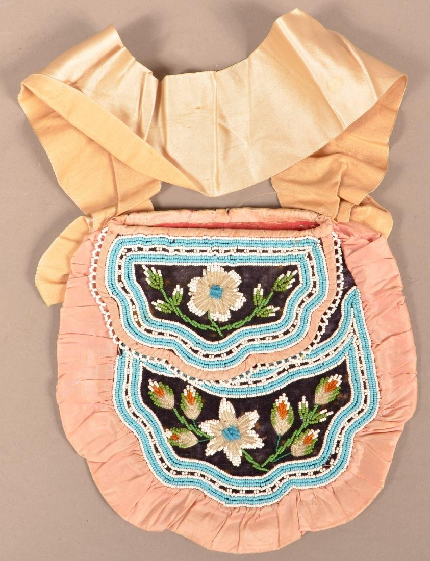 """Mid 19th Cent. Iroquois """"Fancy Bag"""" Silk Ribbon Trimmed"""