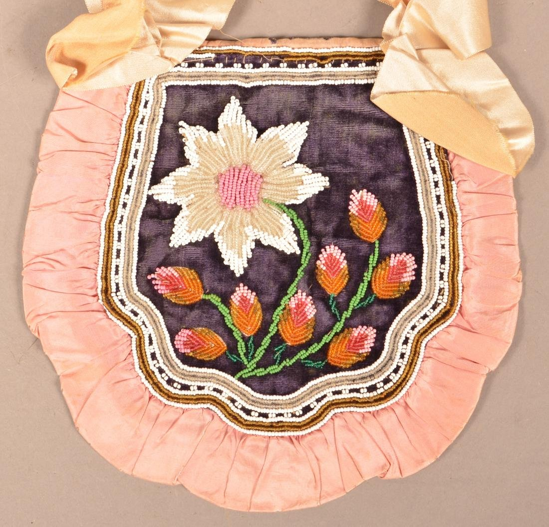 """Mid 19th Cent. Iroquois """"Fancy Bag"""" Silk Ribbon Trimmed - 2"""