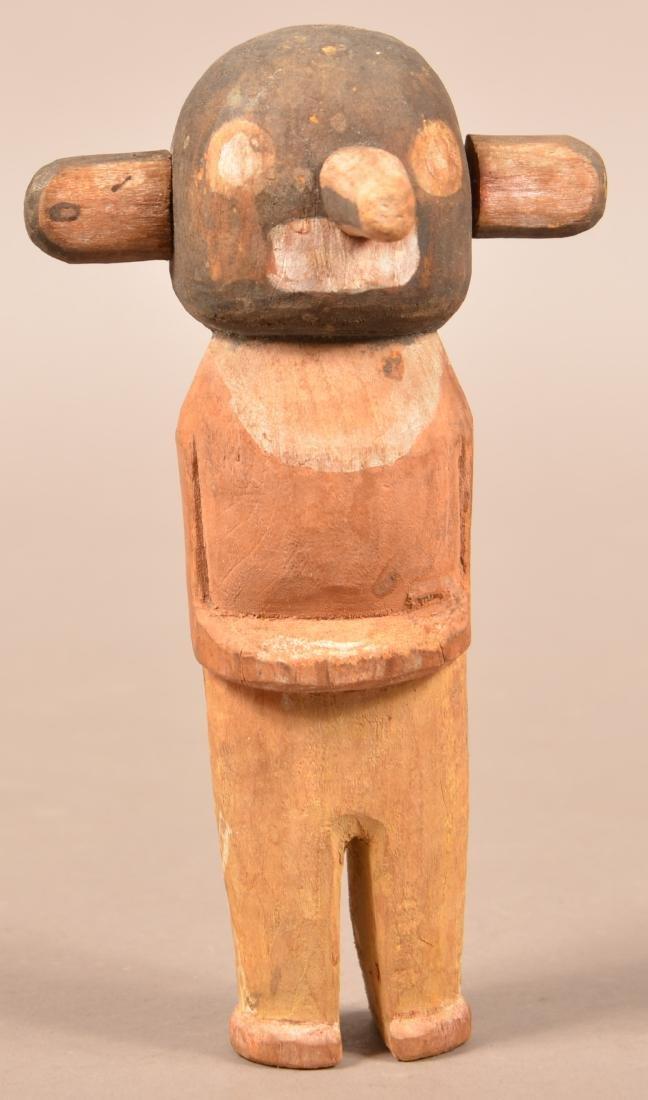 """Old Hopi Indian, Cottonwood Root Carved """"Katsina"""""""