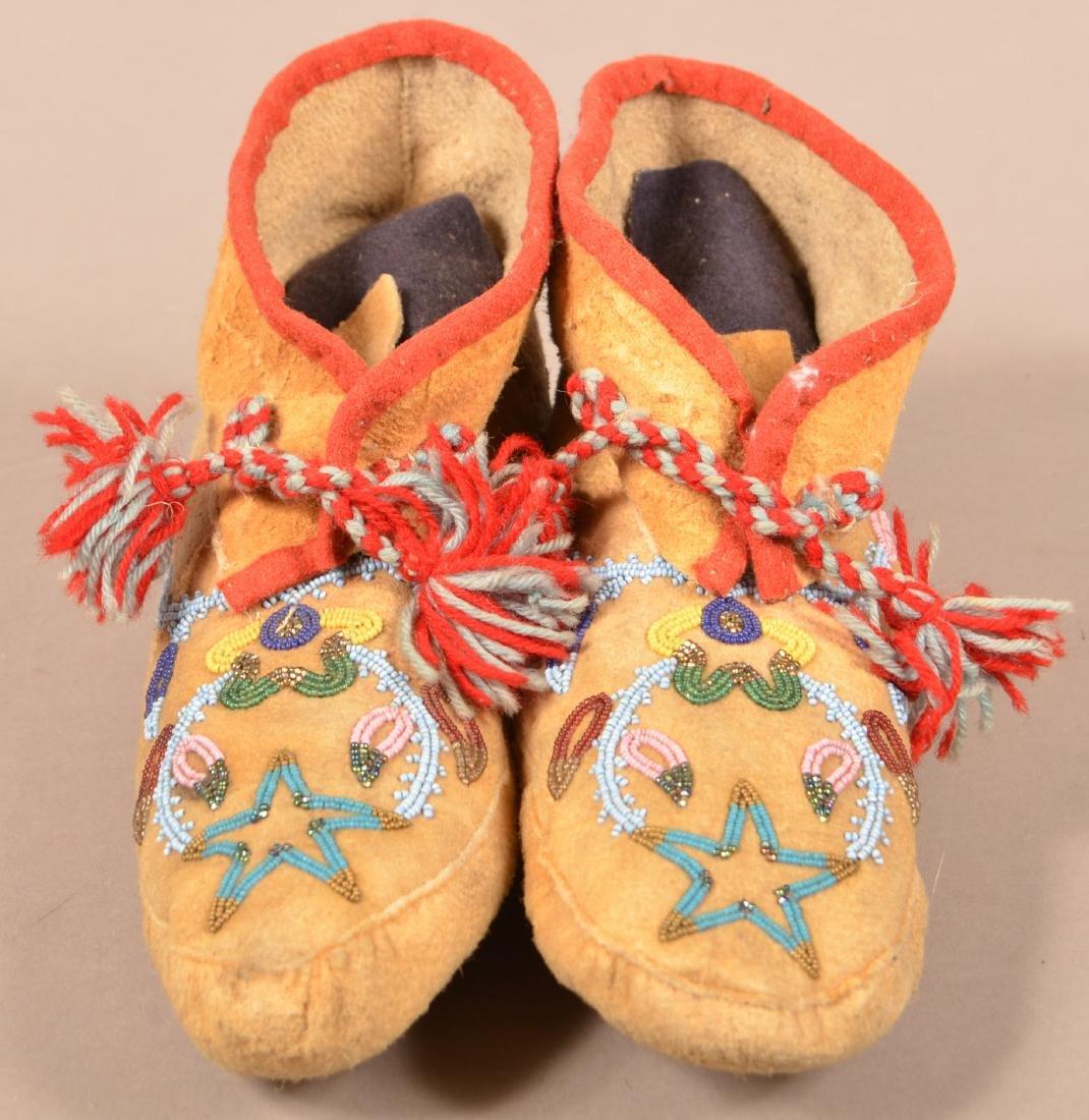 Pair of Vintage Athabascan Indian Beaded Moosehide