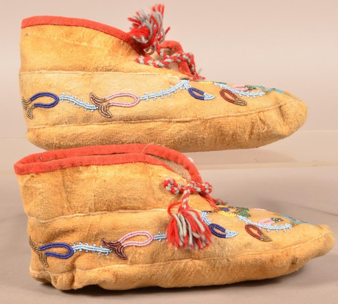 Pair of Vintage Athabascan Indian Beaded Moosehide - 2
