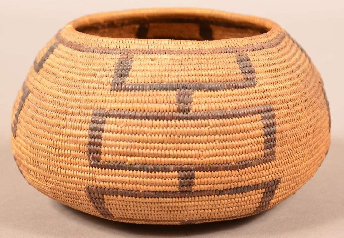 "Antique California Coiled Basket 7"" x 3 1/2"""