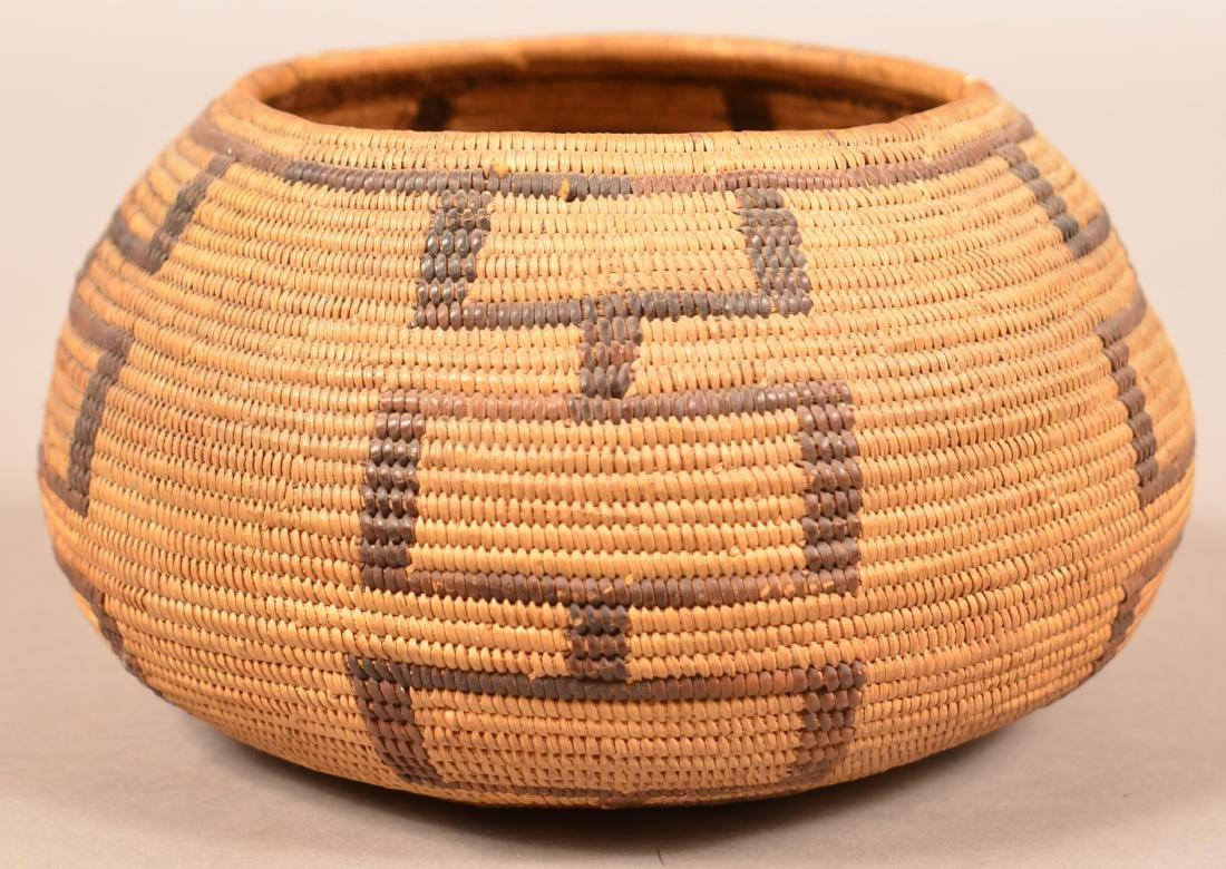 "Antique California Coiled Basket 7"" x 3 1/2"" - 2"