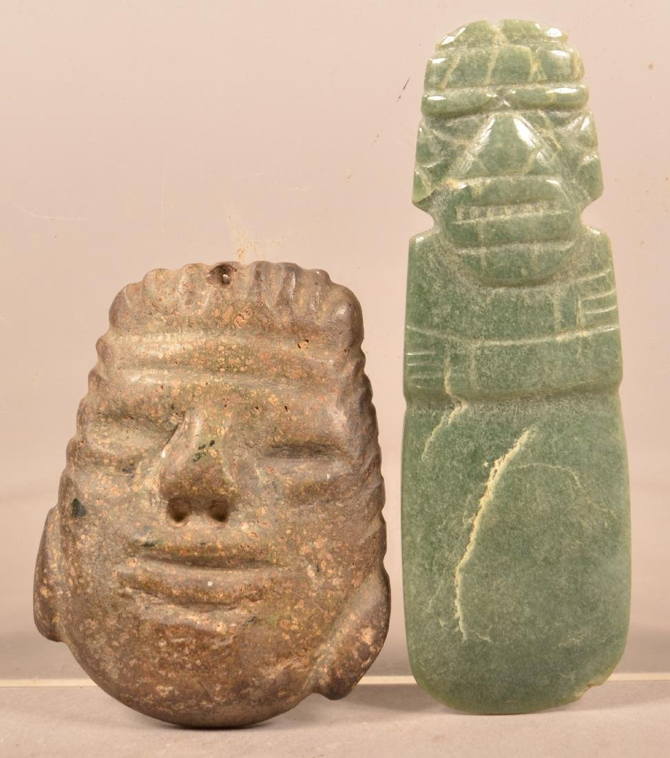 "2 MesoAmerican Stone Carvings ""Axe God"" and Human Head"