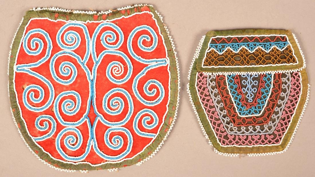 2 Mid 19th Cent. Iroquois Beaded Bag - Early Scroll