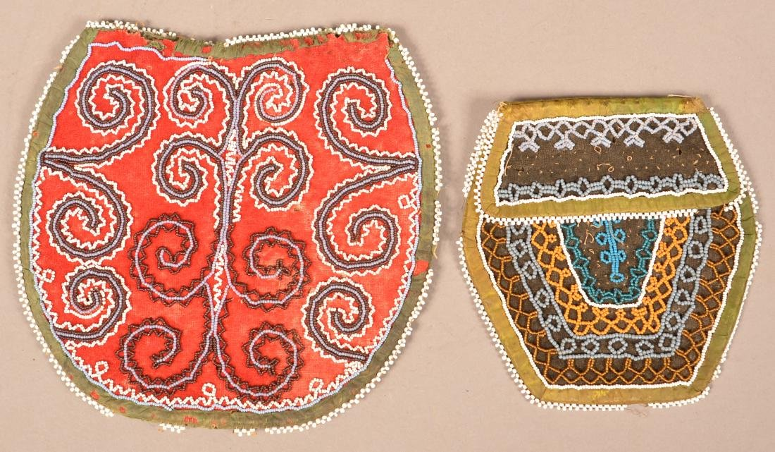 2 Mid 19th Cent. Iroquois Beaded Bag - Early Scroll - 2