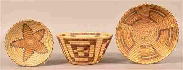 "3 1950's Era, Papago Indian Coiled Baskets 9 1/2"", 5"","