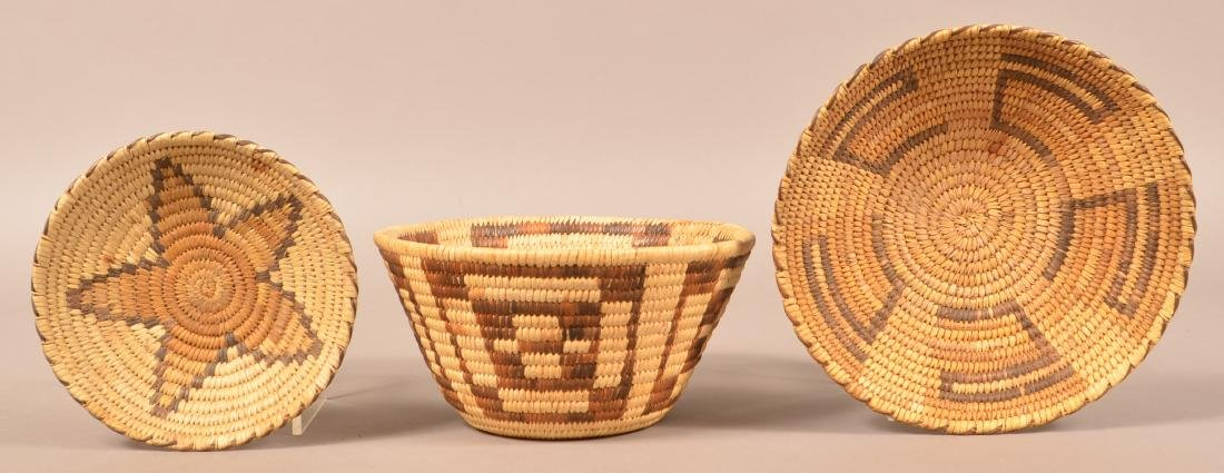 "3 1950's Era, Papago Indian Coiled Baskets 9 1/2"", 5"","