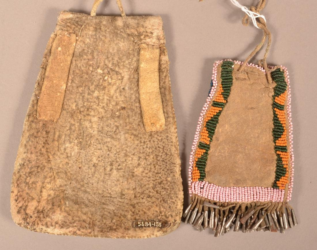 2 Antique Southern Plains Pouches on Saddle Leather, - 2