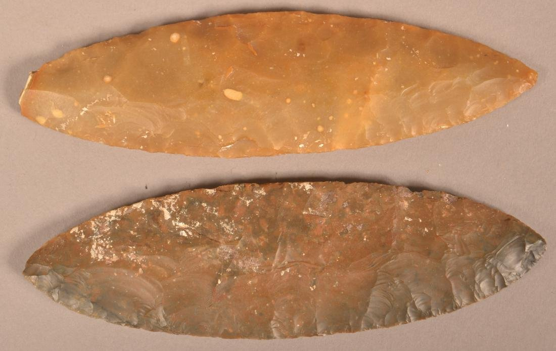"""2 Ancient Flint Blades 6"""" x 2"""" x 1 3/4"""" from the"""