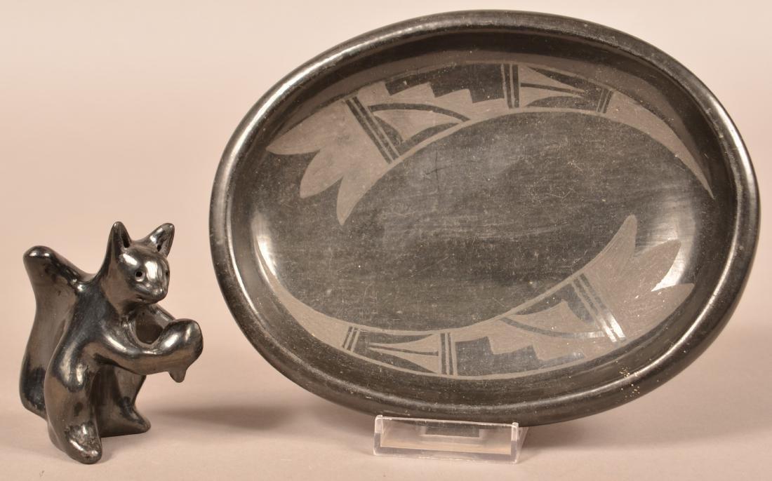 2 Santa Clara Pottery Items - Oval Black on Black