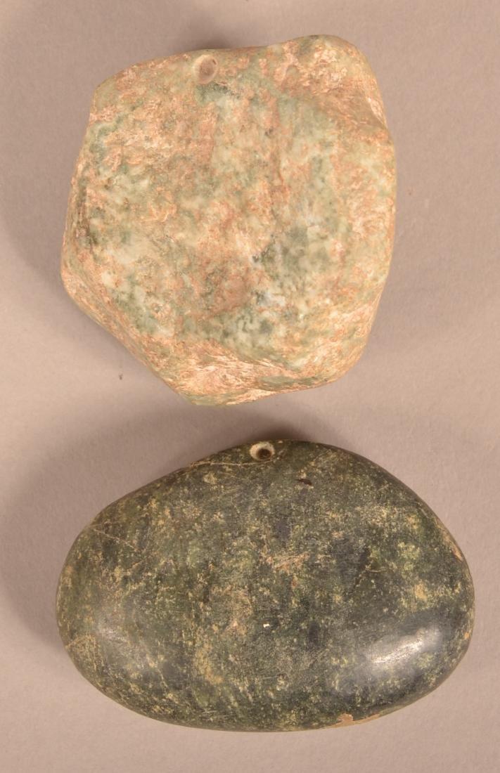 2 Meso American, Precolumbian Stone Pendants - Stylized - 2