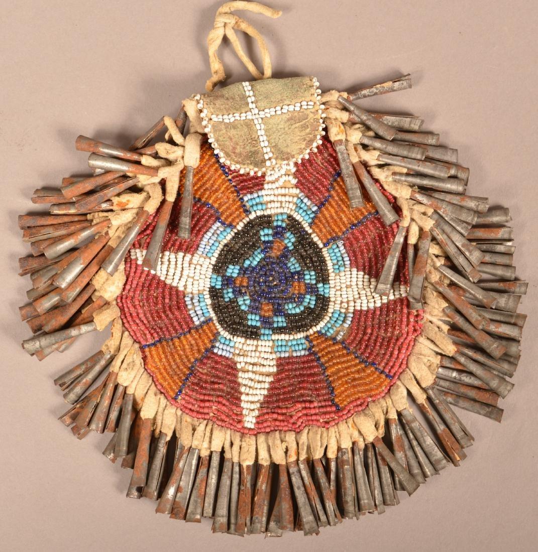 Antique Apache Indian Beaded Bucksking Bag, Circular