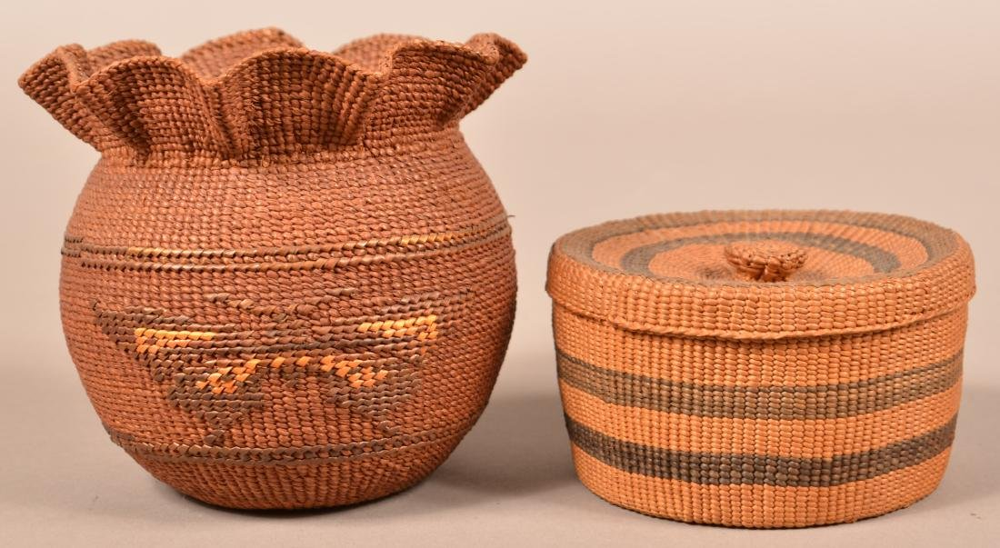 2 Antique N.W Coast Indian Twined Baskets - A Lidded