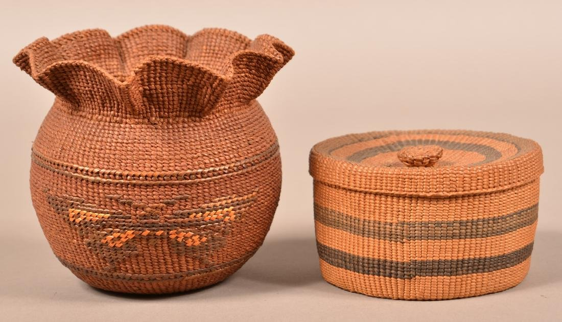 2 Antique N.W Coast Indian Twined Baskets - A Lidded - 2