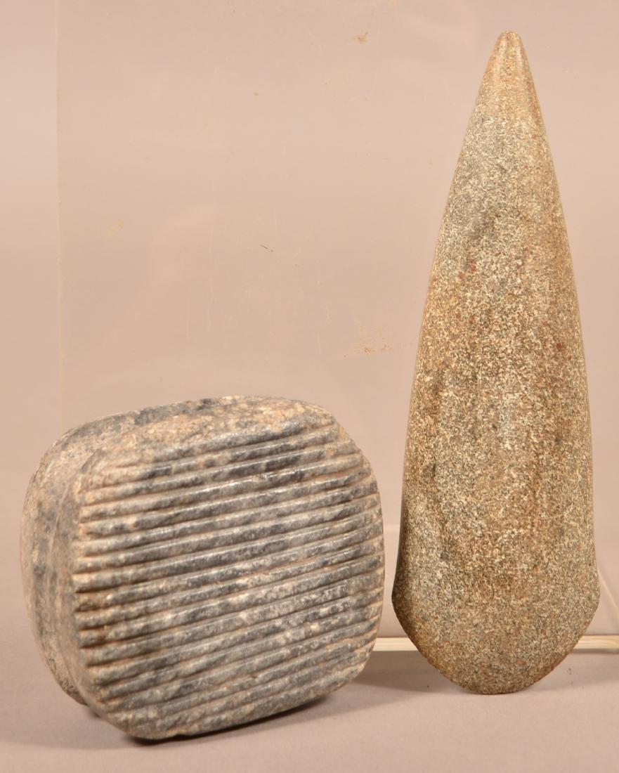 "2 Precolumbian Meso American Artifacts - A Fine 7"" Celt"