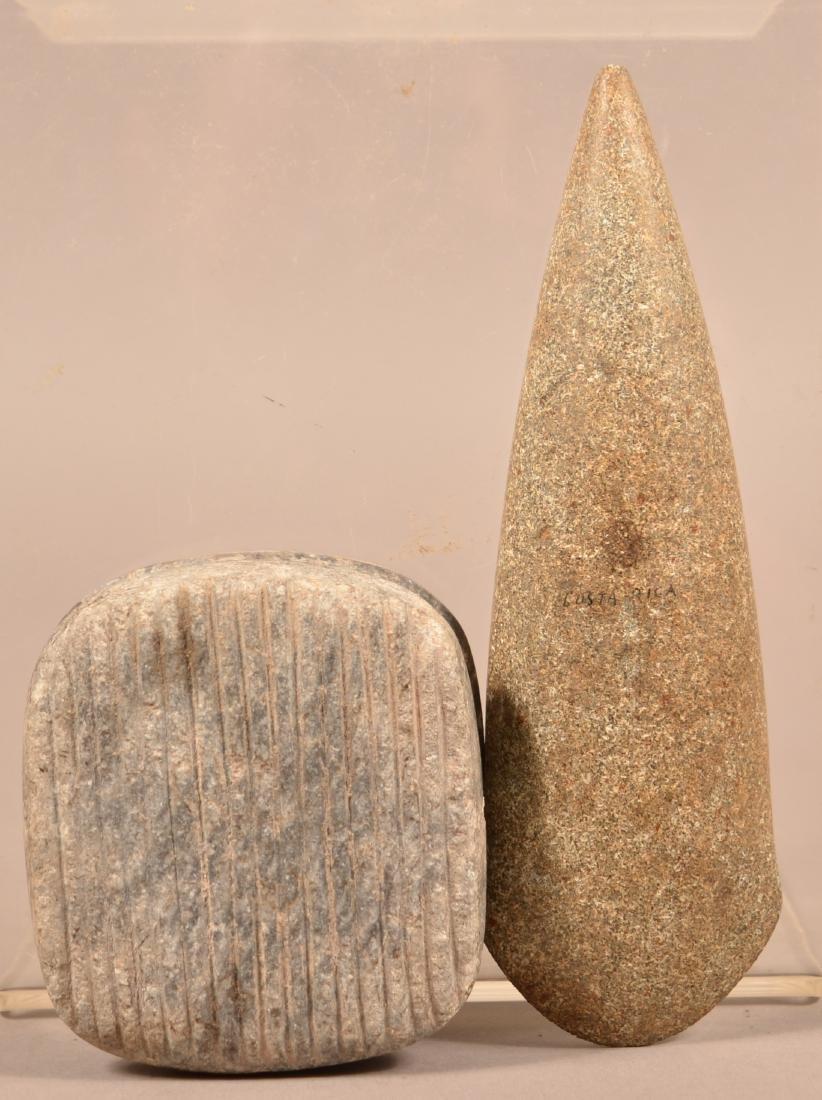 "2 Precolumbian Meso American Artifacts - A Fine 7"" Celt - 3"