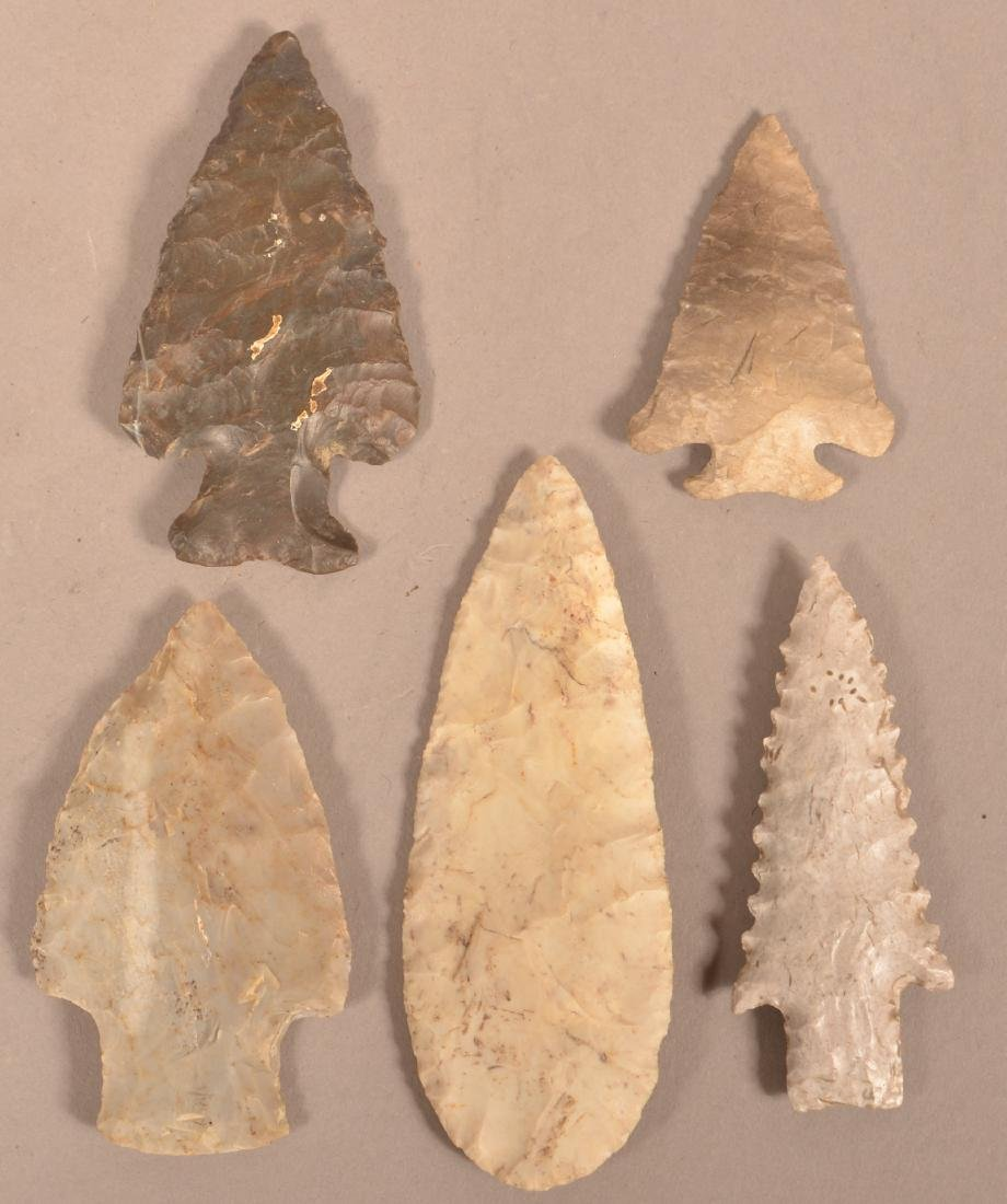 5 Midwest Flint Points, Some Bare Old Location